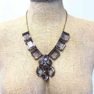 J. CREW lavender glass gem statement necklace
